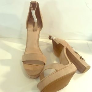 Women's Shoedazzle Tan Peep Toe Heels-Sz 12